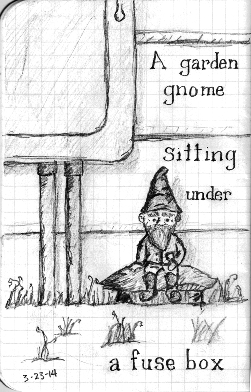 A garden gnome sitting under a fuse box.